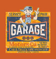 kid motor garage car truck service repair vector image vector image