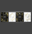 luxury cards collection with marble texture vector image vector image