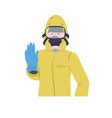 man in hazmat suit and protection mask to prevent vector image
