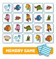 memory game for children cards about sea world vector image vector image
