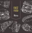 menu fast food set sketch vector image vector image