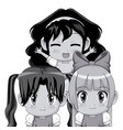 monochrome set three half body cute anime vector image vector image
