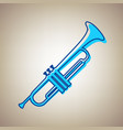 musical instrument trumpet sign sky blue vector image vector image