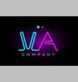 neon lights alphabet va v a letter logo icon vector image vector image