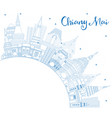 outline chiang mai thailand city skyline with vector image
