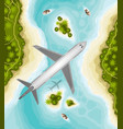 plane over tropical landscape welcome to paradise vector image vector image