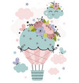 poster with hot air balloon and flowers vector image vector image