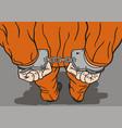 prisoner in handcuffs vector image