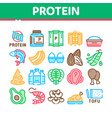 protein food nutrition collection icons set vector image vector image