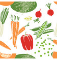 pumpkin carrots soybean sprouts seamless pattern vector image