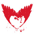 red abstract flying heart with wings and ink drops vector image vector image