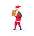 santa claus carrying gift box happy new year merry vector image vector image