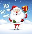 Santa Claus smile with box gift in Christmas snow vector image
