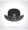 silhouette bowler hat with buckle and clover vector image