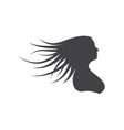 Silhouette woman with long hair vector image