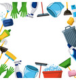 spring cleaning supplies border tools of vector image