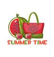 sunglasses a beach bag and a sliced watermelon vector image vector image