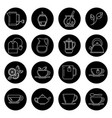 tea thin line icons set in black and white vector image vector image