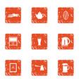 tearoom icons set grunge style vector image