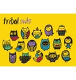 Tribal colorful owl set vector image