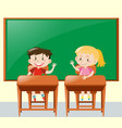 two kids asking question in classroom vector image vector image