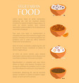 vegetarian food various porridges collection vector image