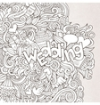 Wedding hand lettering and doodles elements sketch vector image