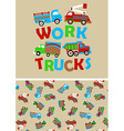 Work trucks with matching repeat pattern vector image vector image