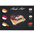 Sushi set Soy sauce and roll Japanese food vector image