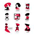 lady logo design set for vector image