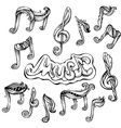 set of vintage music icons vector image