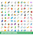 100 teaching icons set isometric 3d style vector image vector image