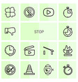 14 stop icons vector image vector image