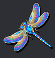 a dragonfly brooch made gold with precious vector image vector image