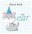 animal world the cat wearing a party hat backgroun vector image vector image