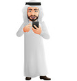 arab businessman holding a mobile phone vector image vector image