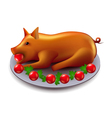 Baked pig isolated on white vector image