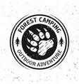 bear footprint vintage round camping emblem vector image