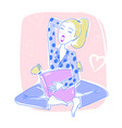 beautiful woman sitting in her bedroom yawning vector image