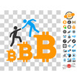 bitcoin business climbing help icon with bonus vector image