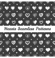 black and white hand drawn hearts St Valentine Day vector image