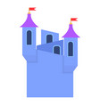 blue castle towers with flags icon cartoon style vector image vector image