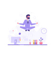 businessman doing yoga in office over desk vector image vector image