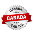 Canada round silver badge with red ribbon vector image vector image