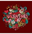 Cartoon hand drawn Doodle Happy Valentines vector image