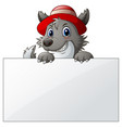 cartoon wolf with blank sign vector image