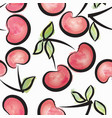 cherry watercolor seamless pattern juicy fruits vector image vector image