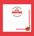 christmas invitation envelope with red theme vector image