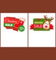 christmas sale label santa socks gingerbread deer vector image vector image