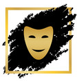 comedy theatrical masks golden icon at vector image vector image